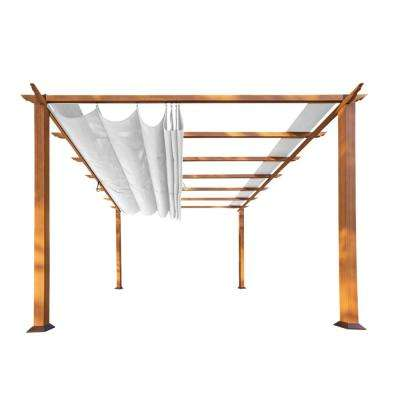 Paragon 11 ft. x 11 ft. Aluminum Pergola with the Look of Canadian Cedar Wood with an Off-White Color Canopy Top
