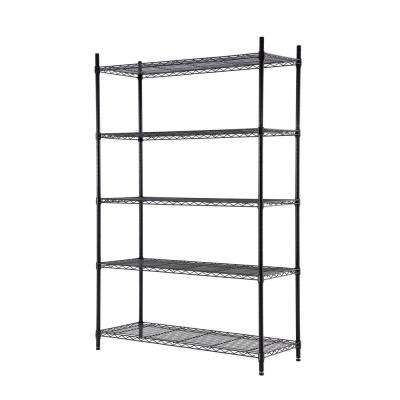 72 in. H x 36 in. W x 16 in. D 5-Shelf Wire Black Finish Shelving Unit