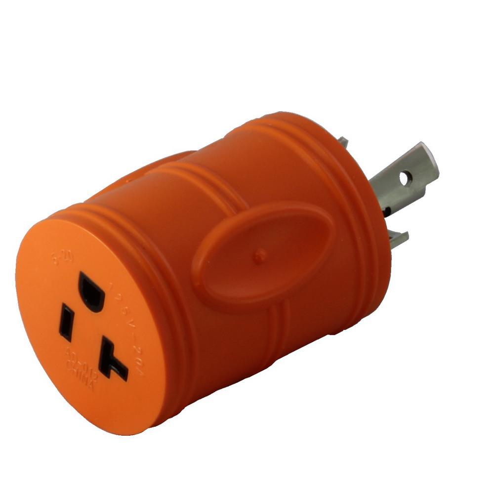 Ac works locking adapter l14 20p 20 amp 125 250 volt 4 for Bathroom 15 or 20 amp