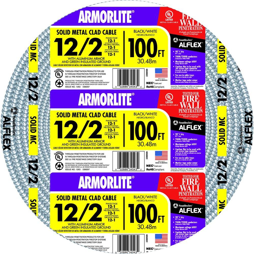 Southwire 122 x 100 ft solid cu mc metal clad armorlite cable solid cu mc metal clad armorlite greentooth