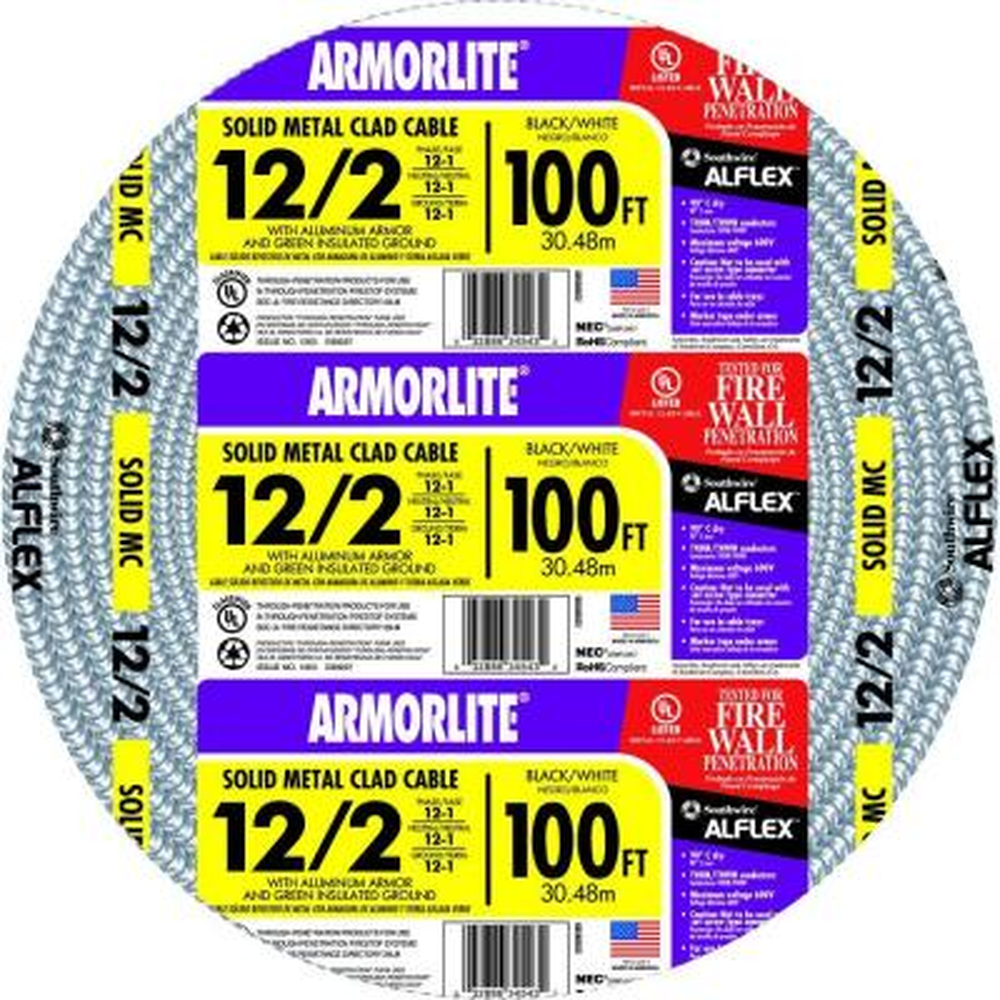 12/2 x 100 ft. Solid CU MC (Metal Clad) Armorlite Cable