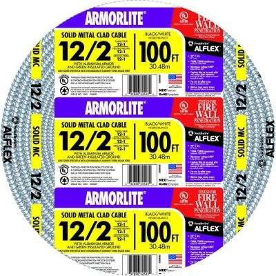 12/2 x 100 ft. Solid CU MC (Metal Clad) Armorlite Cable