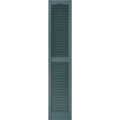 15 in. x 75 in. Louvered Vinyl Exterior Shutters Pair #004 Wedgewood Blue