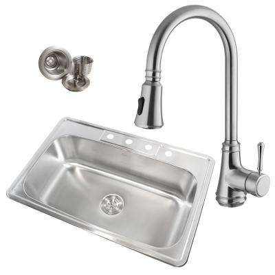 Topmount Drop-In 18-Gauge Stainless Steel 33 in. x 22 in. x 9 in. 4-Hole Single Bowl Kitchen Sink with Faucet