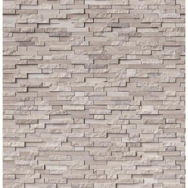 White Quarry Split Face 12 in. x 12 in. x 10mm Textured Marble Mesh-Mounted Mosaic Tile (10 sq. ft. / case)