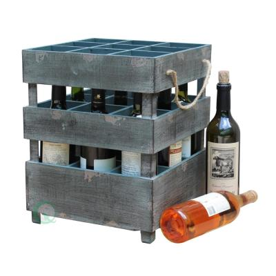 12 in. W x 12 in. D x 15 in. H Wooden Antique Style Stackable 9 Bottle Rustic Gray Wine Crates