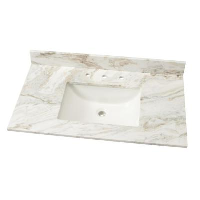 37 in. W Marble Single Sink Vanity Top in Arabescato Venato with White Sink