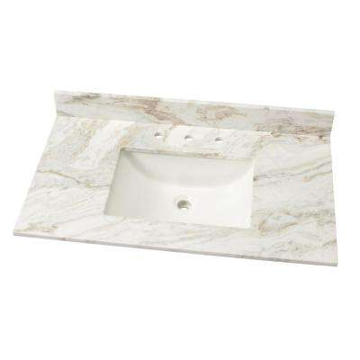 37 In. W Marble Single Sink Vanity Top ...