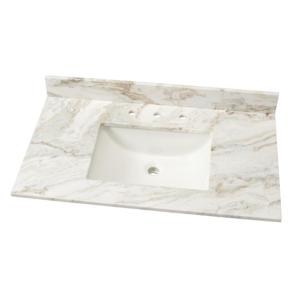 37 in. W Marble Single Sink Vanity Top in Arabescato Venato with White Sink