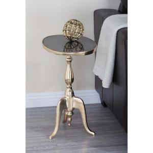 Classic Round Black Marble Accent Table by