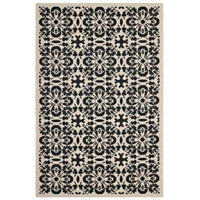 Ariana Vintage Floral Trellis 8x10 Indoor and Outdoor Area Rug in Black and Beige