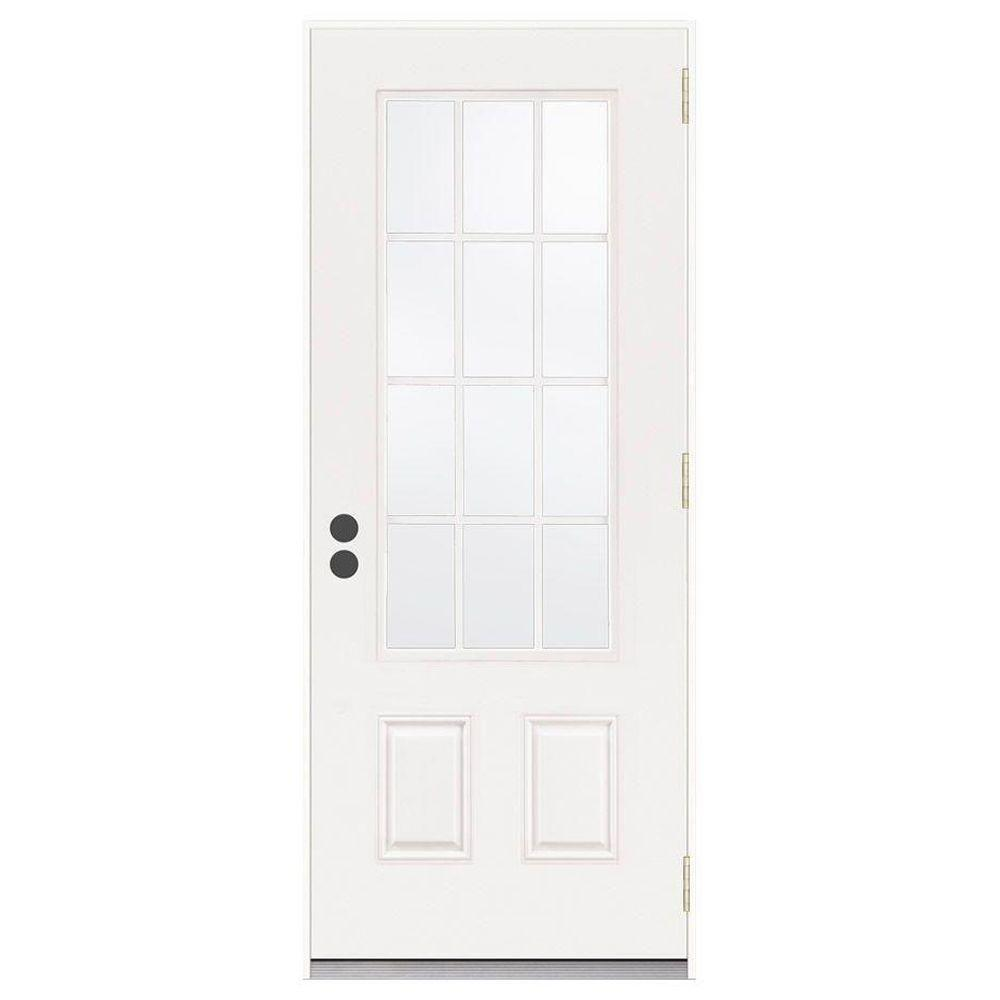 JELD-WEN 32 in. x 80 in. 12 Lite Primed Steel Prehung Left-Hand Inswing Front Door
