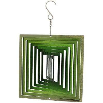 12 in. 3D Emerald Green Square Whirligig Outdoor Wind Spinner