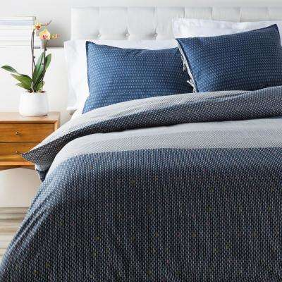 Simona Navy Full/Queen Duvet Set