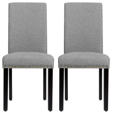 Set of 2 Grey Fabric Nailhead Trim Dining Chairs with Wood Legs
