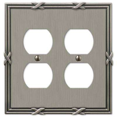 Ribbon and Reed 2 Duplex Wall Plate - Antique Nickel