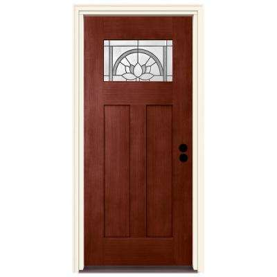 36 in. x 80 in. Left-Hand 1-Lite Craftsman Ardsley Black Cherry Stained Fiberglass Prehung Front Door with Brickmould