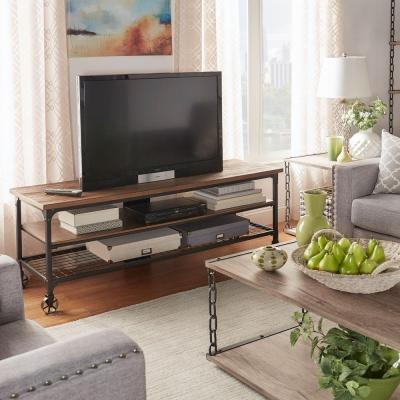 Cabella 48 in. Distressed Ash Wood TV Stand Fits TVs Up to 48 in. with Wheels