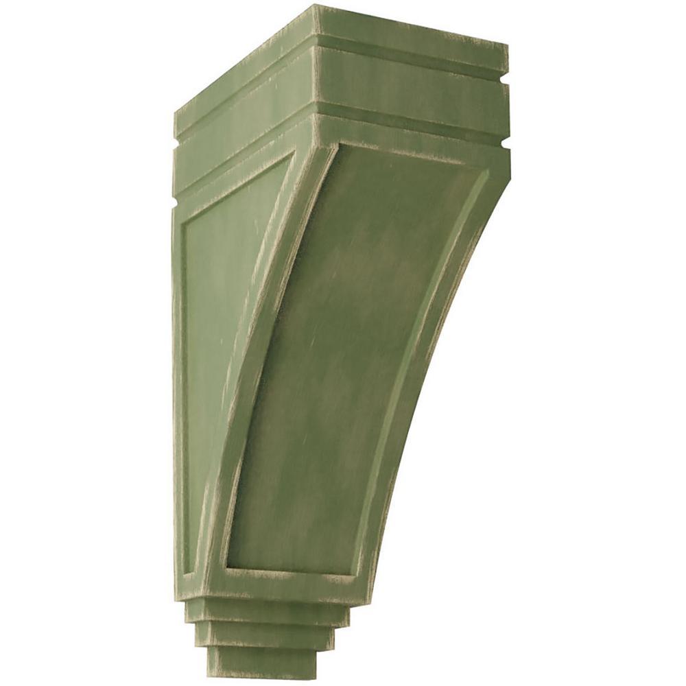 5 in. x 14 in. x 7-3/4 in. Restoration Green Large San Juan Wood Vintage Decor Corbel