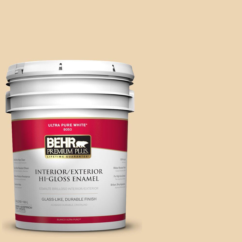 BEHR Premium Plus 5-gal. #340E-3 Bavarian Cream Hi-Gloss Enamel Interior/Exterior Paint