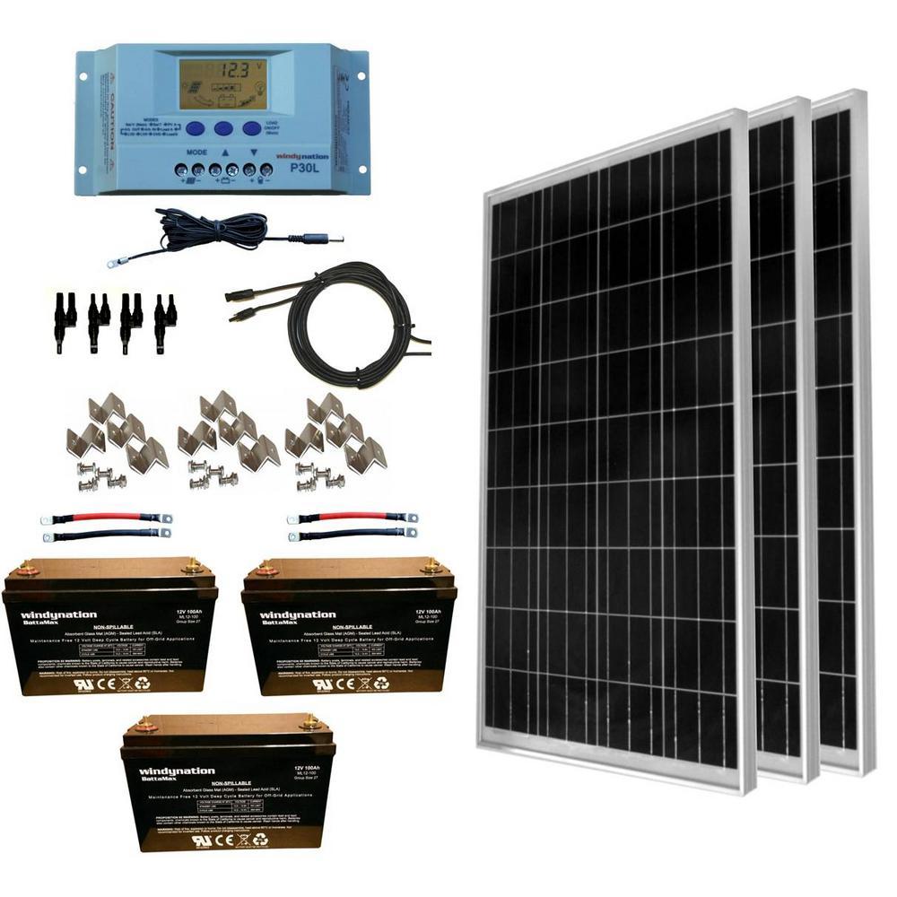 300-Watt Off-Grid Polycrystalline Solar Panel Kit with 12-Volt AGM Deep Cycle Battery