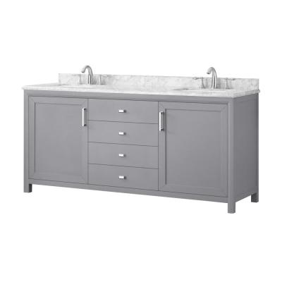 Rockleigh 72 in. W x 22 in. D Bath Vanity in Pebble Grey with Marble Vanity Top in Carrara White with White Basin