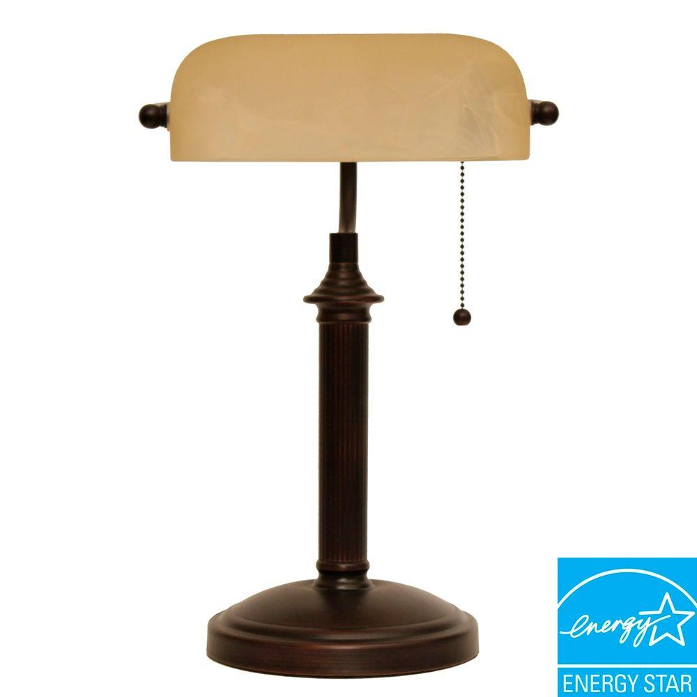 hampton bay 15 in oil rubbed bronze bankers lamp with pull chain rh homedepot com bronze bankers desk lamp bronze desk lamp with leather shade