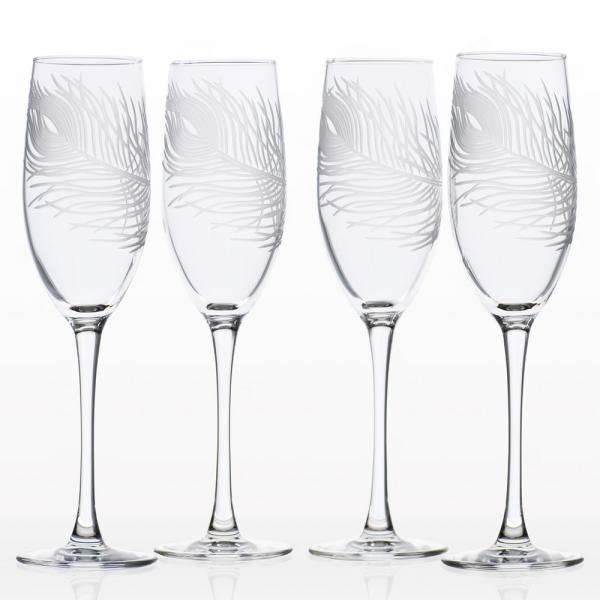 Rolf Glass Peacock 8 oz. Clear Champagne Flute (Set of 4)