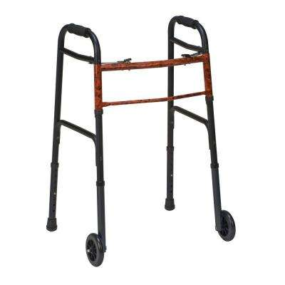 2-Button Release Aluminum Folding Walkers with Non-Swivel Wheels in Black (2-Pack)