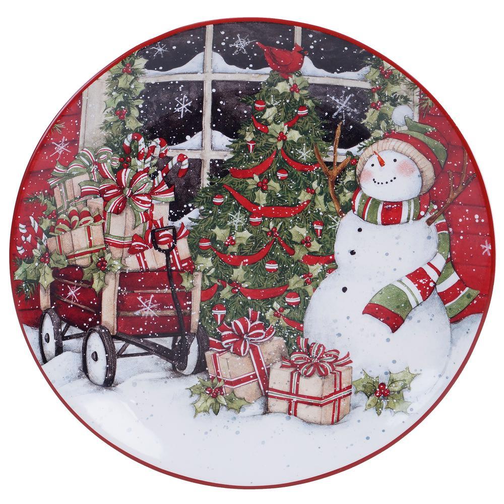 Snowman's Sleigh Earthenware Round Platter