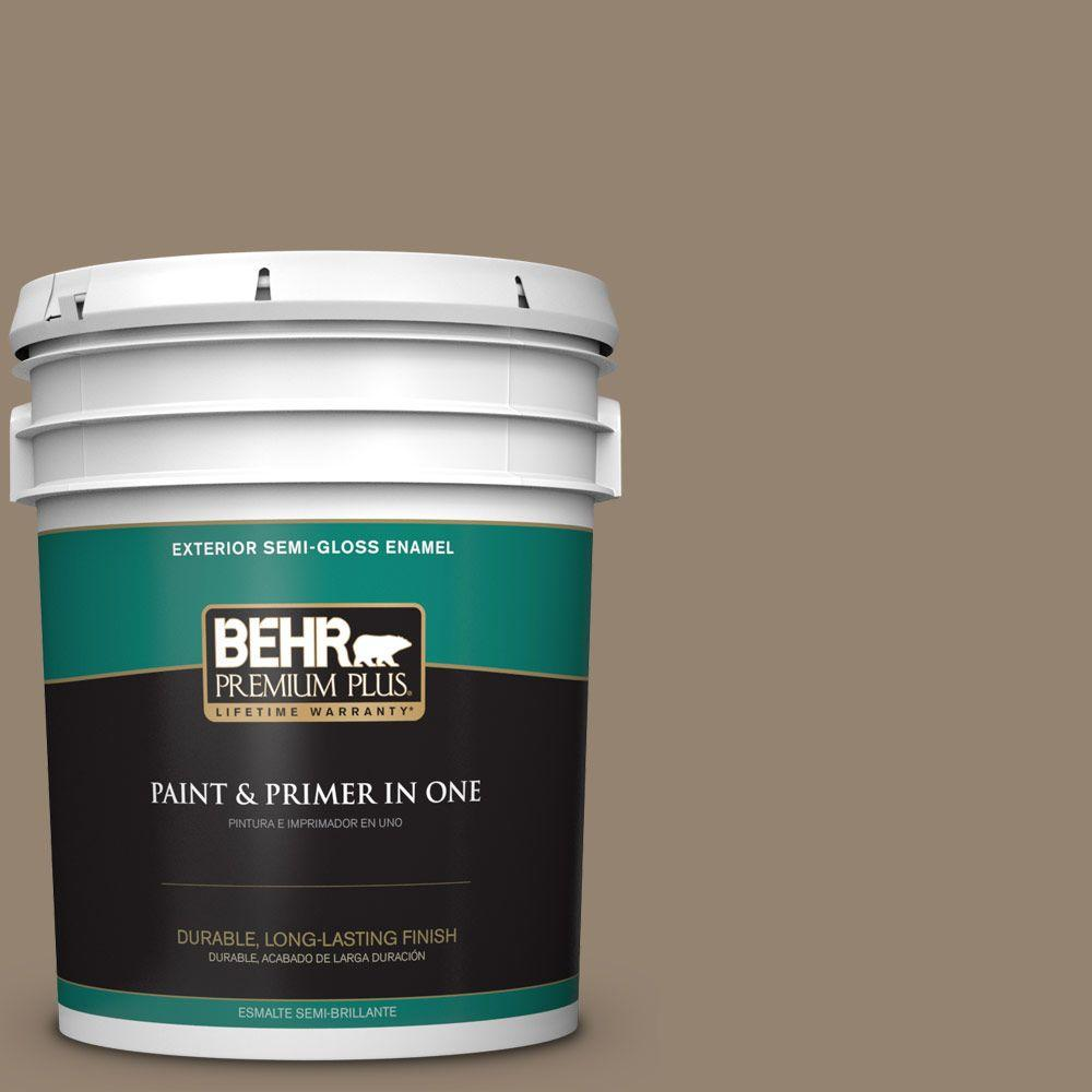 BEHR Premium Plus 5-gal. #HDC-AC-14 Bristol Beige Semi-Gloss Enamel Exterior Paint