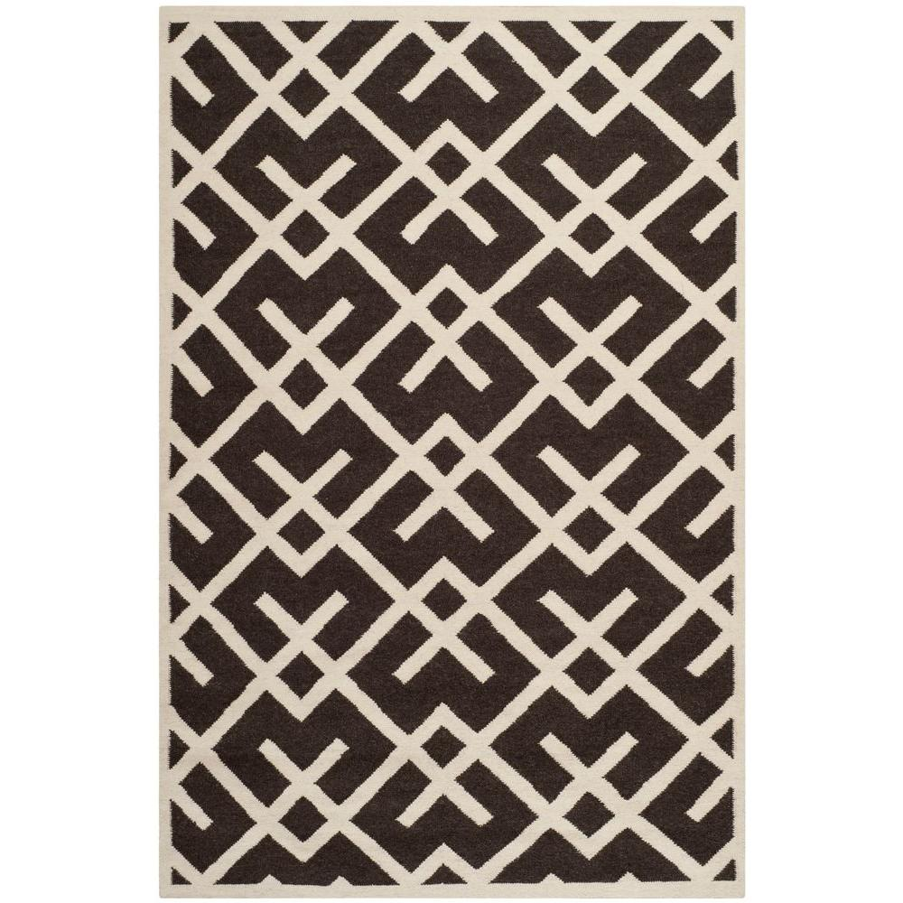 Safavieh Dhurries Brown/Ivory 9 ft. x 12 ft. Area Rug