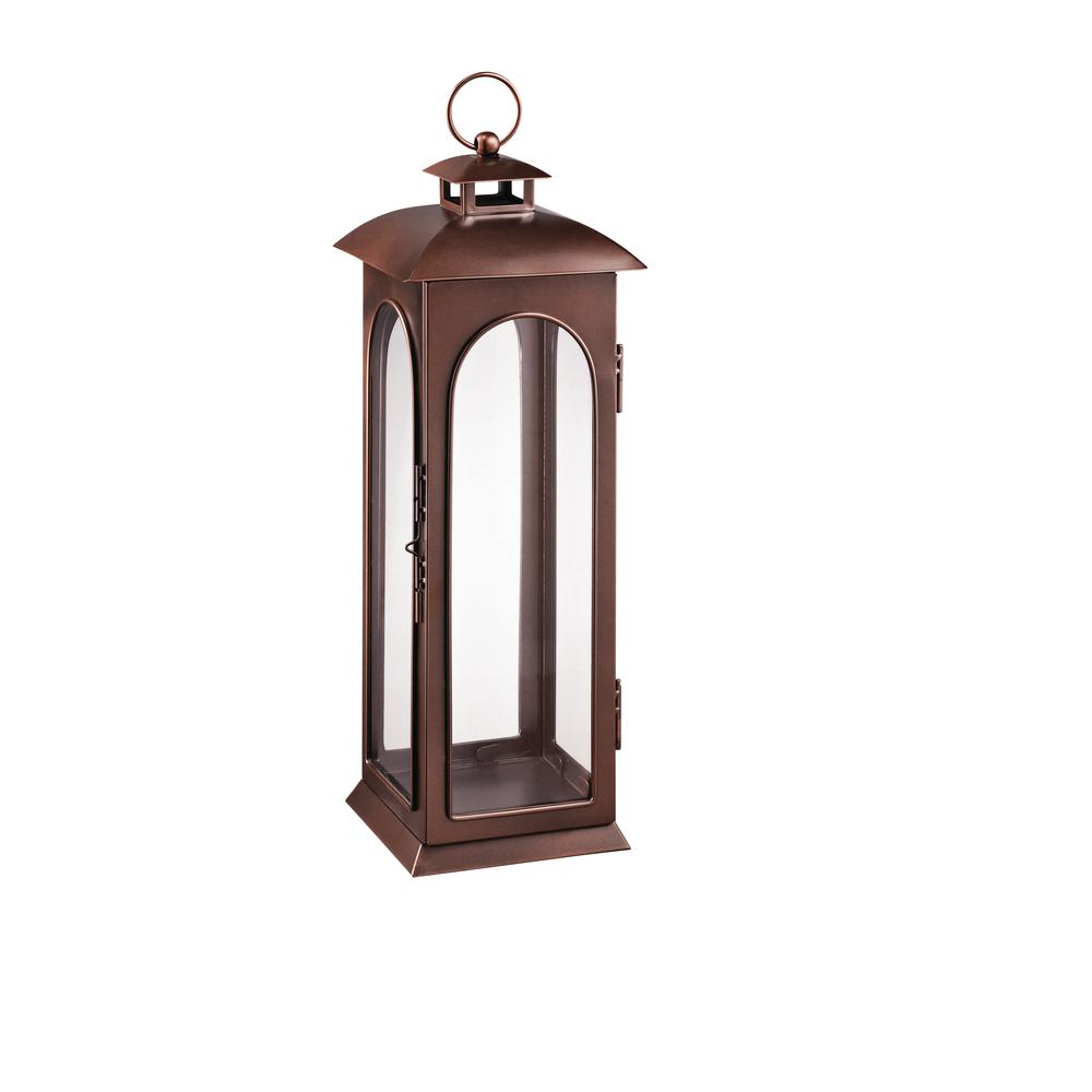 Hampton Bay 22 in. Metal Lantern in Copper