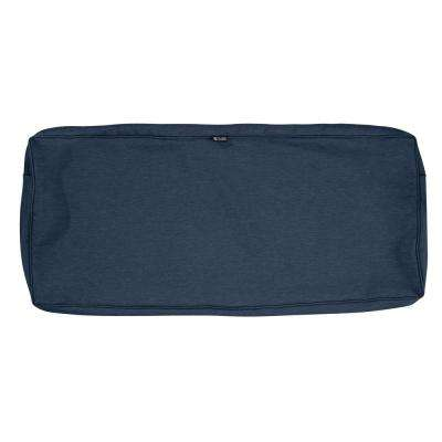 Montlake FadeSafe 48 in. x 18 in. x 3 in. Heather Indigo Outdoor Bench Cushion Cover