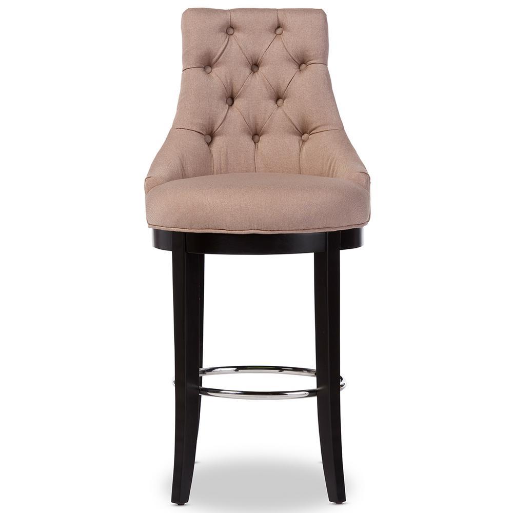 Baxton Studio Harmony Beige Fabric Upholstered Bar Stool