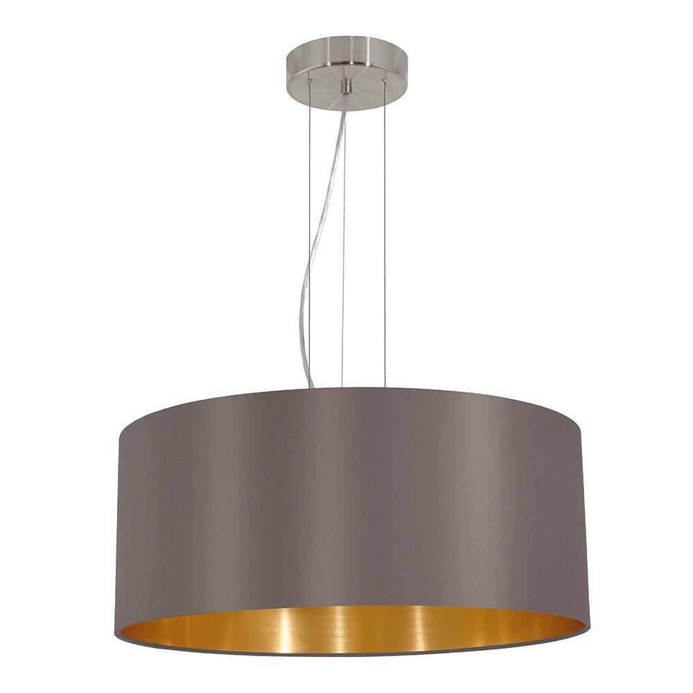 Maserlo 3-Light Cappucino and Satin Nickel Pendant Light