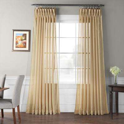 Signature Double Wide Soft Tan Sheer Curtain - 100 in. W X 84 in. L (1 Panel)