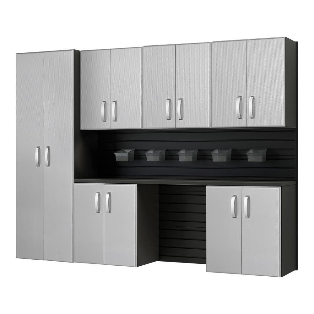 Flow Wall Modular Wall Mounted Garage Cabinet Storage Set with Accessories in Black/Platinum Carbon Fiber (7-Piece)