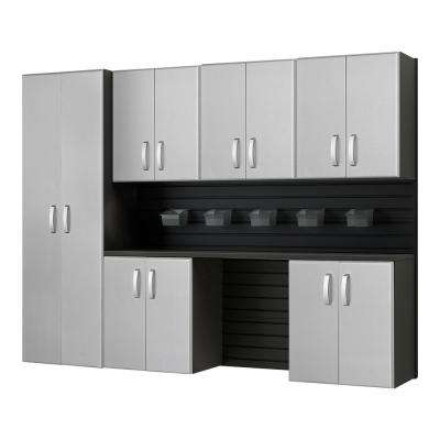 Modular Wall Mounted Garage Cabinet Storage Set with Accessories in Black/Platinum Carbon Fiber (7-Piece)