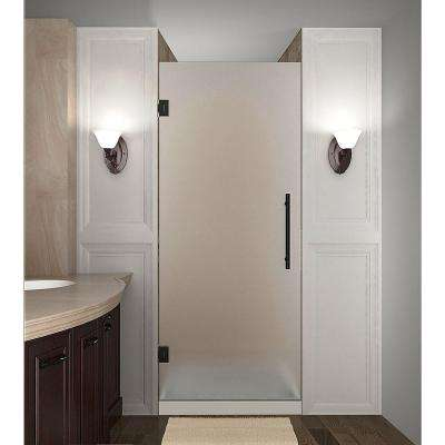 Cascadia 24 in. x 72 in. Completely Frameless Hinged Shower Door with Frosted Glass in Oil Rubbed Bronze