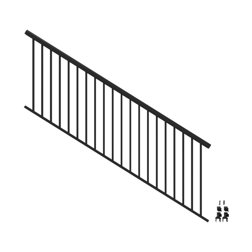 Penrose 8 ft. x 36 in. Matte Black Aluminum Decorative Rail Stair Kit
