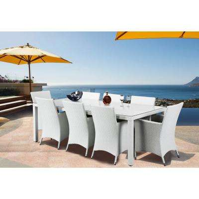Chiasso 9-Piece All-Weather Wicker Outdoor Patio Dining Set with Gray Cushions