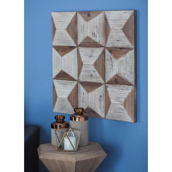 30 in. x 30 in. Brown and White Wooden Geometric Wall Panel