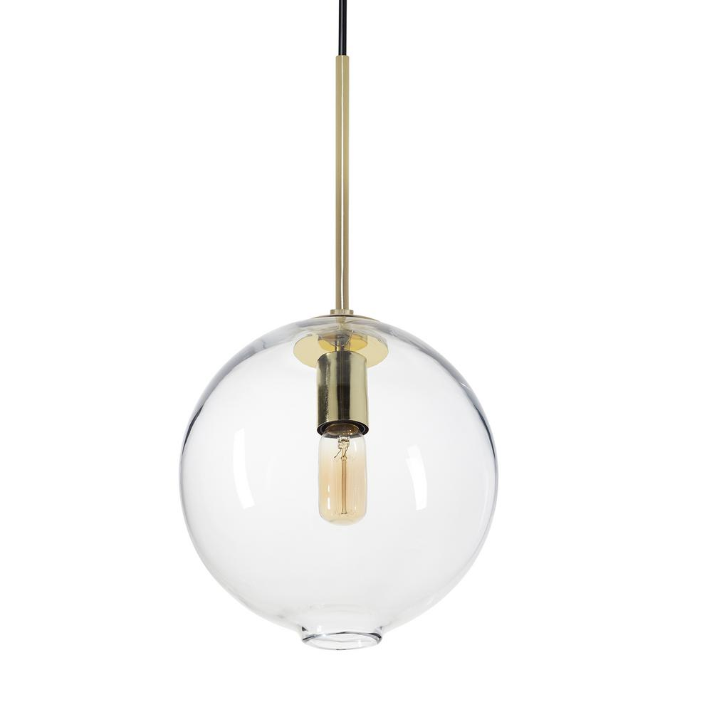 Casamotion Zurich 10 In W X 19 In H 1 Light Brass Hand Blown Glass Pendant Light With Clear Glass Shade