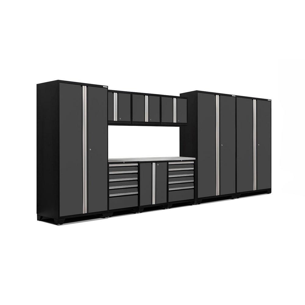 Pro 3.0 83.25 in. H x 192 in. W x 24 in. D 18-Gauge Welded Steel Stainless Steel Worktop Cabinet Set in Gray (10-Piece)