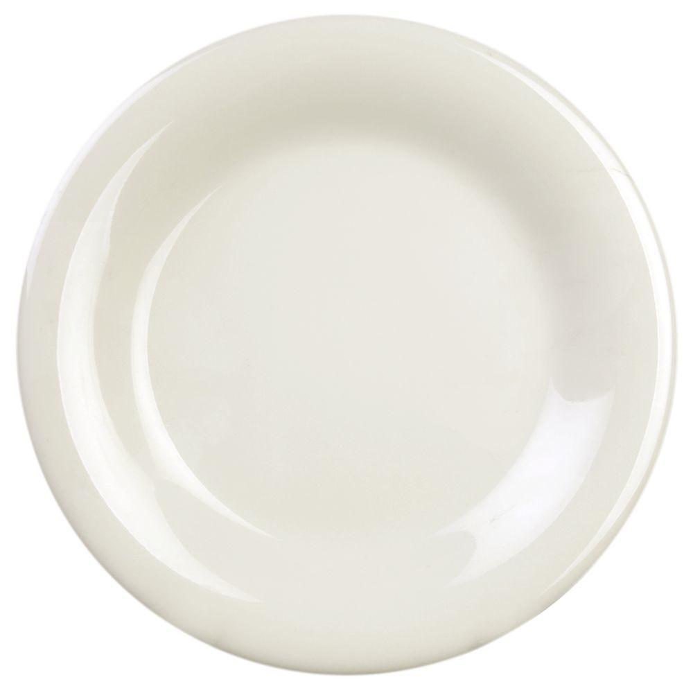 Coleur 10-1/2 in. Wide Rim Plate in Ivory (12-Piece)