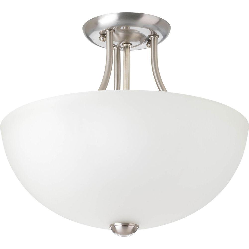 Random Collection 2-Light Brushed Nickel Semi-Flush Mount Light