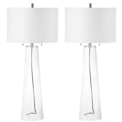 Myrtle 38 in. Clear Statue Table Lamp with Off-White Shade (Set of 2)
