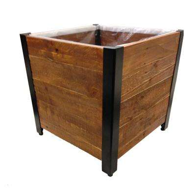 17.75 in. x 17.75 in. Urban Garden Brown Recycled Wood Planter