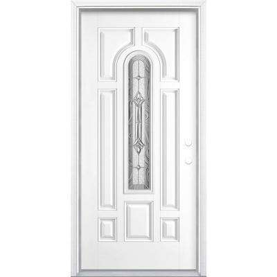 36 in. x 80 in. Providence Center Arch Pure White Left Hand Painted Smooth Fiberglass Prehung Front Door w/ Brickmold